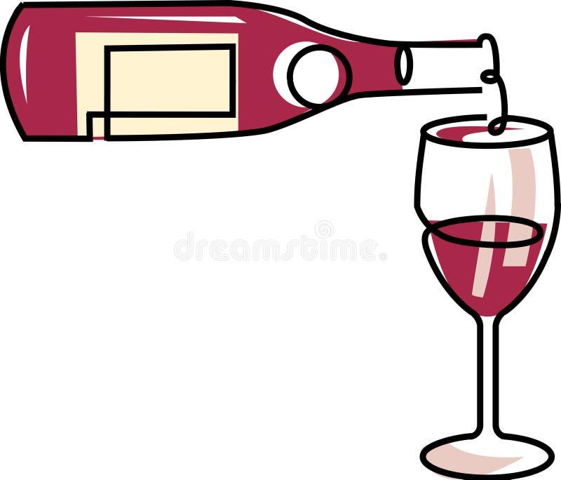 Derramando um vidro do vinho vermelho ilustração stock