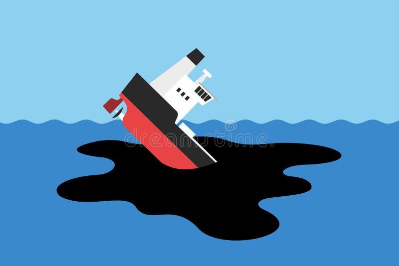 Derrame de petróleo en el agua después del desplome y del fregadero del petrolero libre illustration