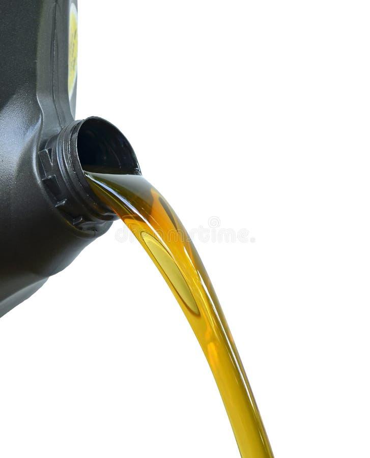 Derrame do óleo do preto dos galões Fundo branco fotos de stock royalty free