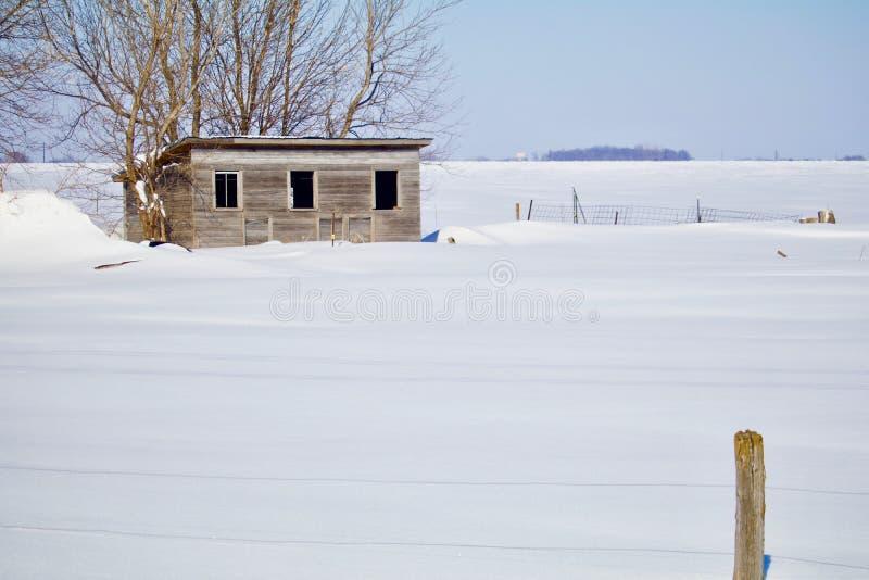 Derrame na pradaria do inverno imagem de stock