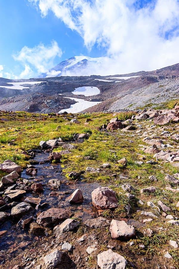 derretimento da neve que flui com uma paisagem da montanha imagens de stock royalty free
