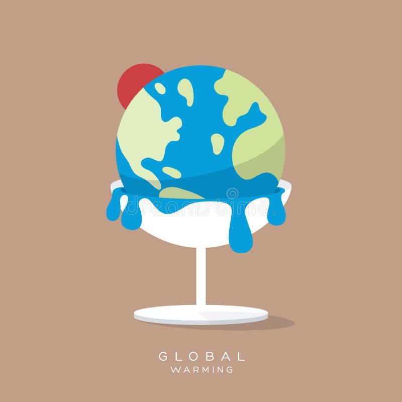 Derretimientos de la tierra del helado del calentamiento del planeta stock de ilustración