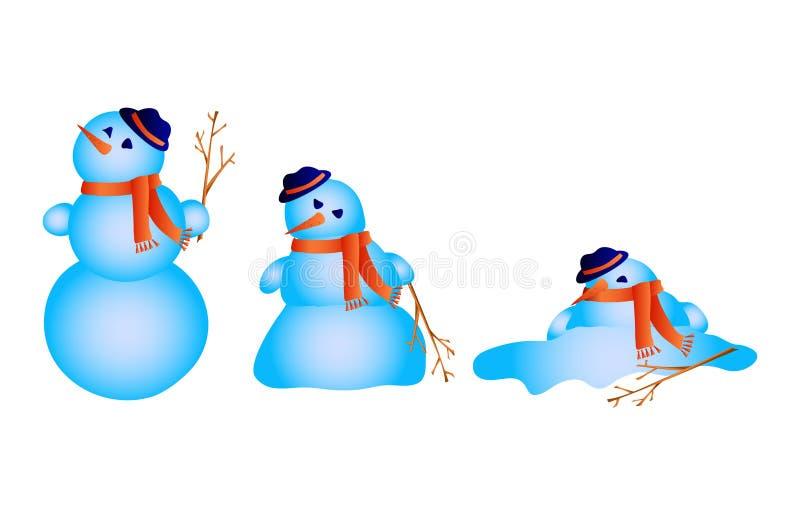 Derretimientos del muñeco de nieve stock de ilustración