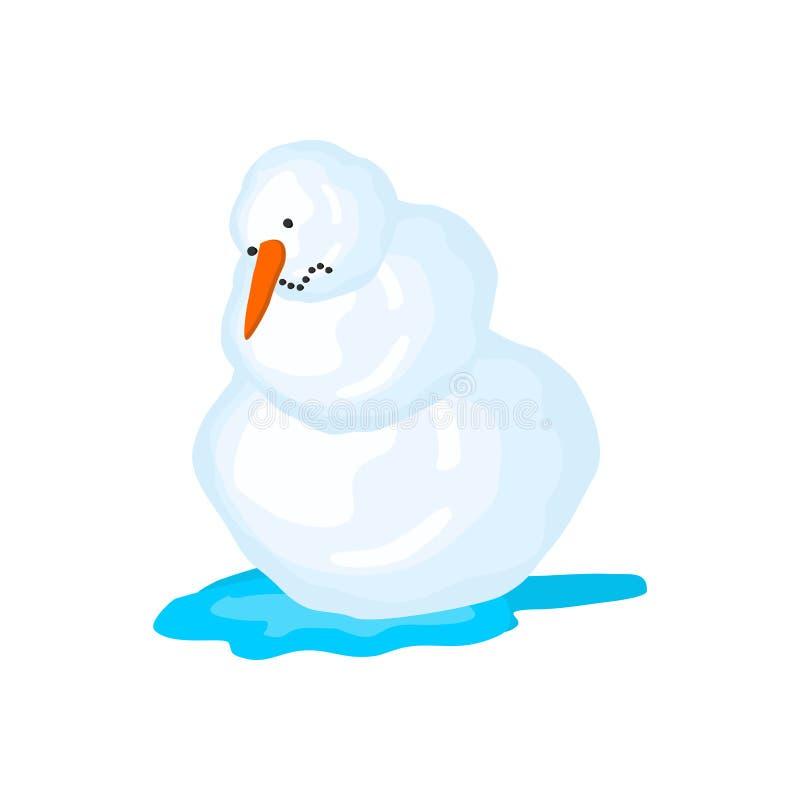 Derretimientos del muñeco de nieve El resorte viene Nieve y agua ilustración del vector