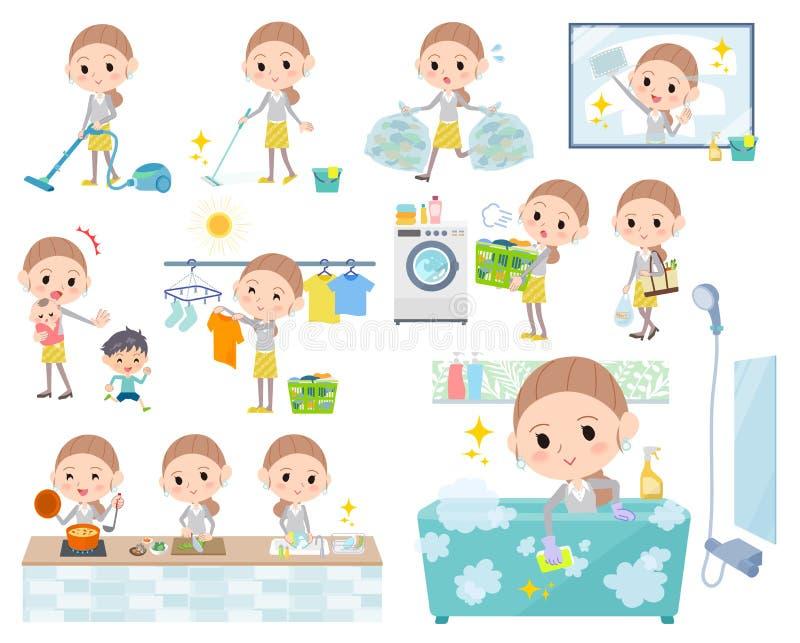 Derrière l'usage de jaune de cheveux de noeud women_Housekeeping illustration de vecteur