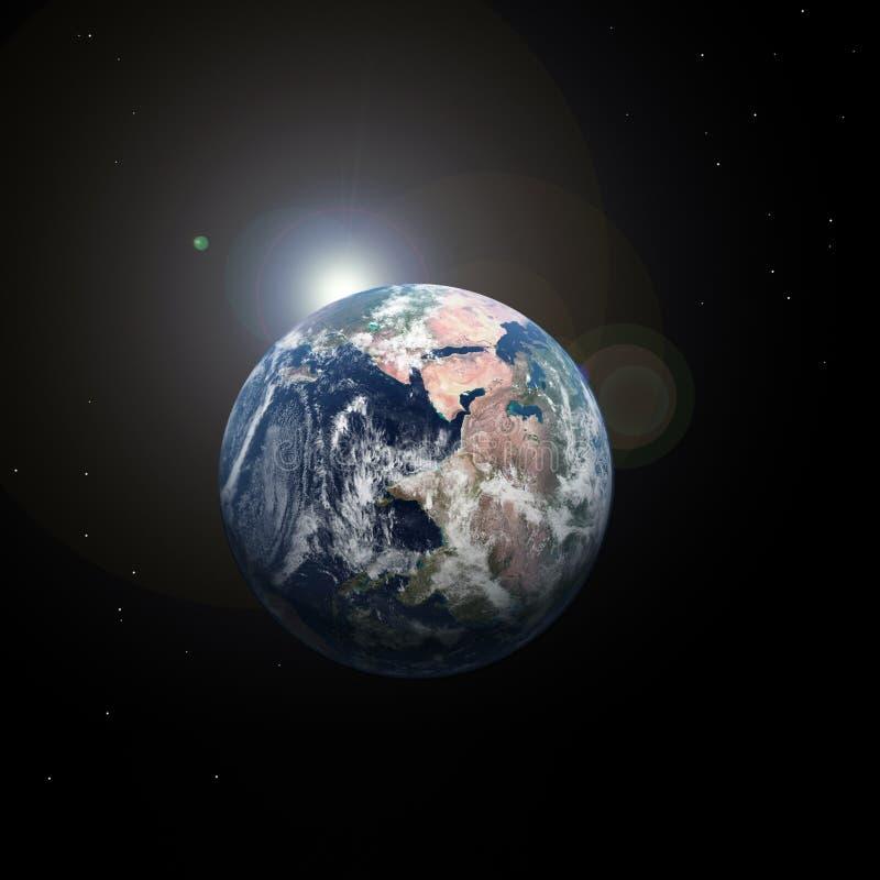 derrière le soleil de l'espace de la terre illustration de vecteur