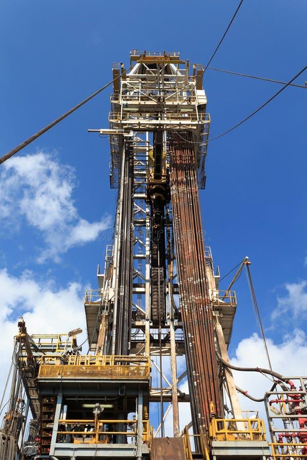 Derrick of Tender Drilling Oil Rig (Barge Oil Rig). On The Production Platform stock images