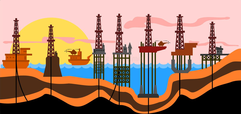 Derrics de la petróleo-producción del mar libre illustration