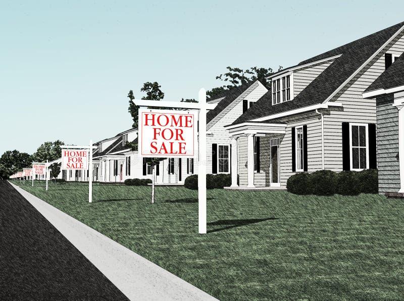 Derrumbamiento de la industria de la hipoteca ilustración del vector