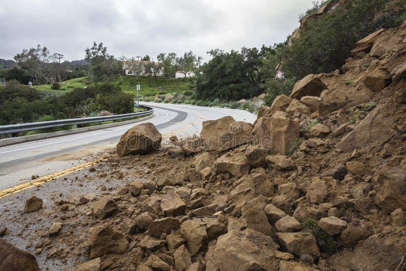Derrumbamiento de Los Ángeles Canyon Road fotos de archivo