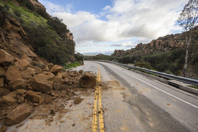 Derrumbamiento Los Ángeles California de Canyon Road imagen de archivo