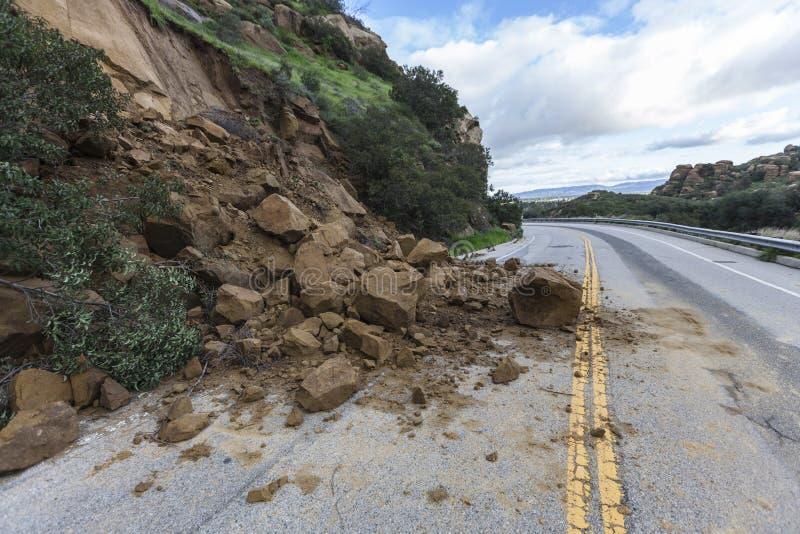 Derrumbamiento Los Ángeles California de la carretera fotos de archivo libres de regalías