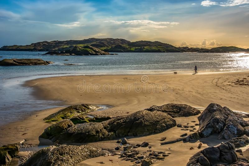 Derrynane Beach Kerry Ireland Arcipelago Rocks Sunset immagine stock