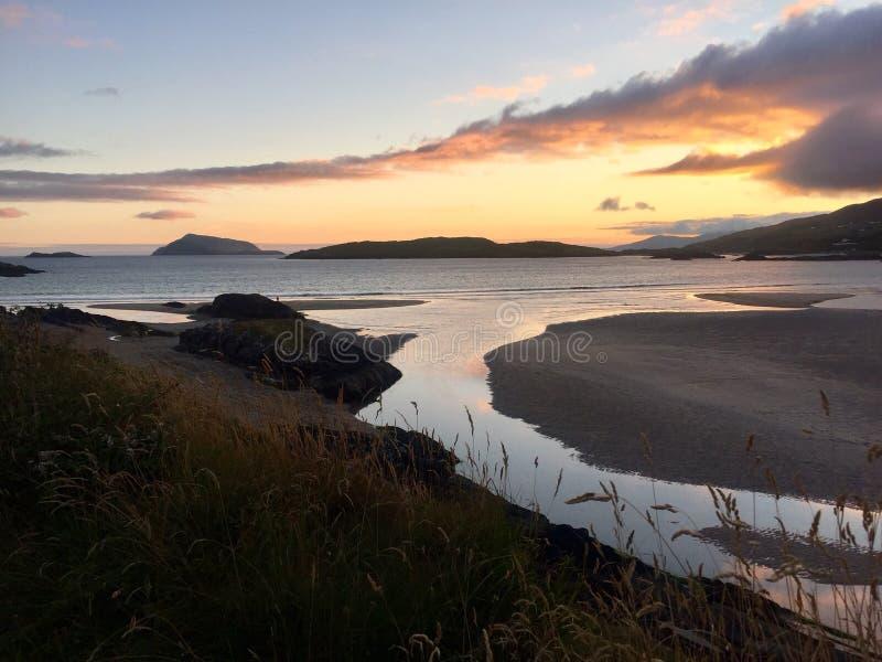 Derrynane plaży zmierzch fotografia royalty free