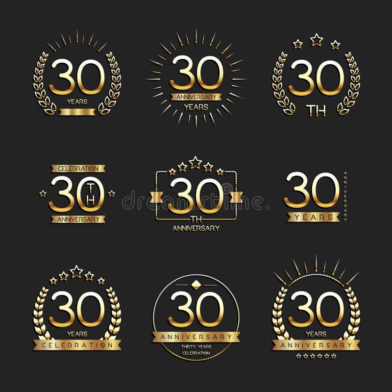 Dertig van de verjaardagsjaar viering logotype de 30ste inzameling van het verjaardagsembleem royalty-vrije illustratie