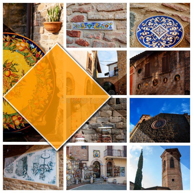 Deruta, Италия - 02/20/2019: Фото коллажа в формате 11:1 Городок в Умбрии известной для своей художественной ручной работы и покр стоковое фото