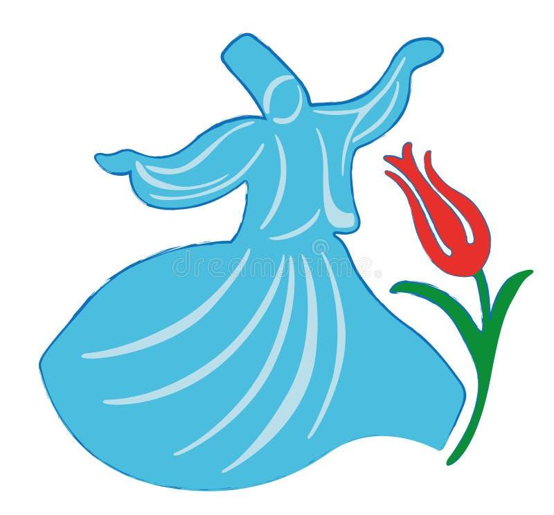Derviche de tourbillonnement de vecteur Mevlana avec la tulipe illustration stock
