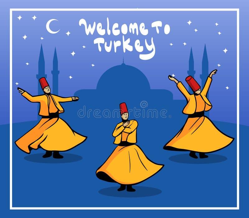 Dervixe girando Turquia ilustração stock
