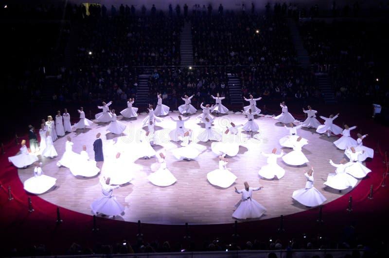 Dervixes de Mevlana que dançam a cerimônia fotos de stock