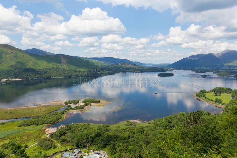 Derwent Water Lake District National Park Cumbria south of Keswick elevated view. Derwent Water Lake District National Park Cumbria south of Keswick surrounded royalty free stock images