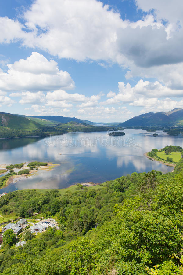 Derwent Water Lake District National Park Cumbria south of Keswick elevated view. Derwent Water Lake District National Park Cumbria south of Keswick surrounded stock images
