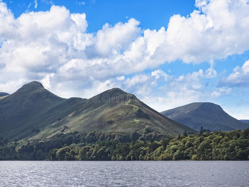Derwentwater in the Lake District in North West England. The Lake District is a place of considerable scenic beauty. It is surrounded by hills known locally as stock image