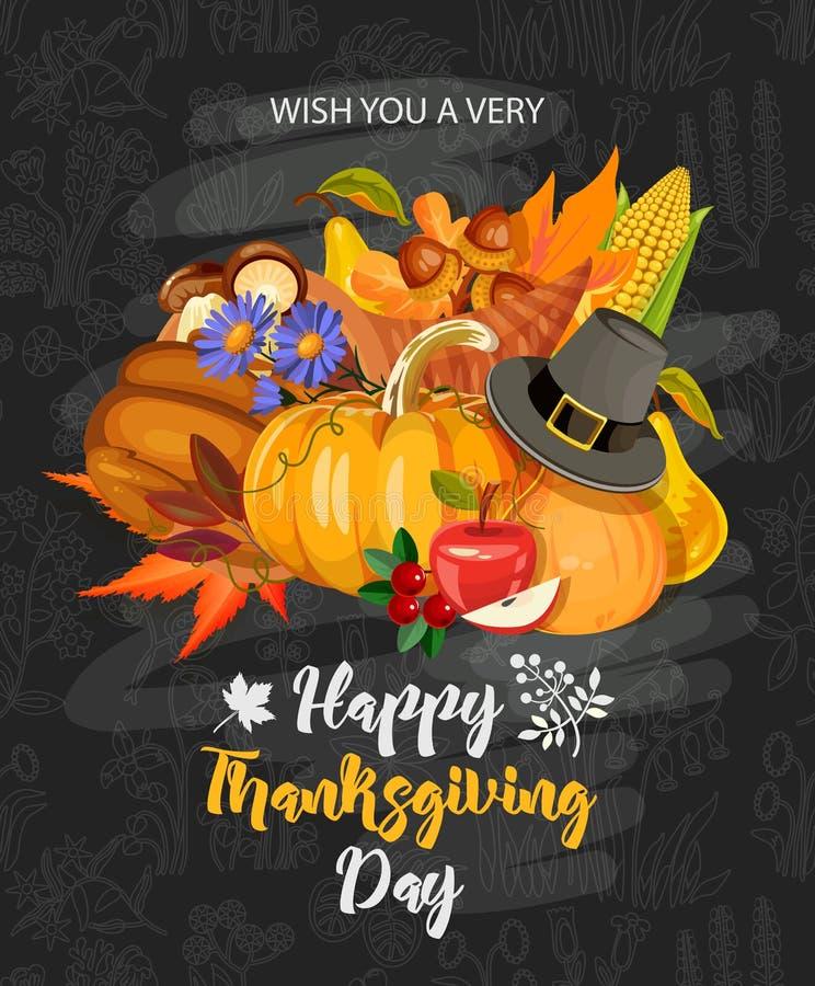 Deséele un día muy feliz de la acción de gracias Vector la tarjeta de felicitación con la fruta, las verduras, las hojas y las fl ilustración del vector
