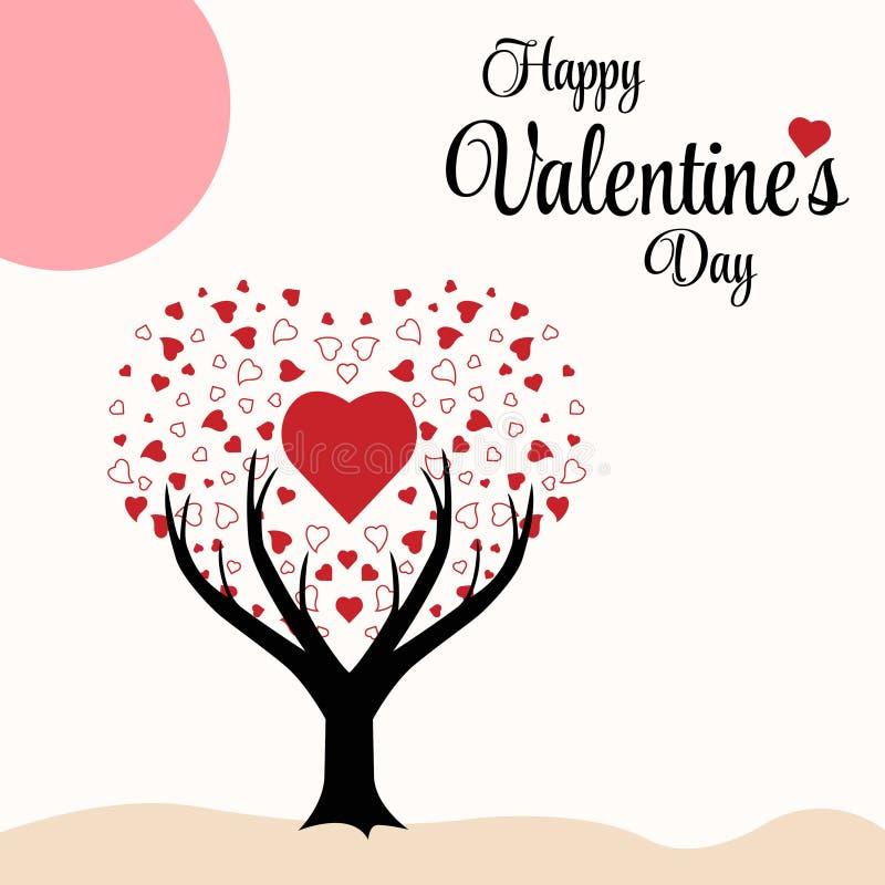 Deséele un ejemplo feliz del vector del fondo del árbol del corazón del día de tarjeta del día de San Valentín ilustración del vector