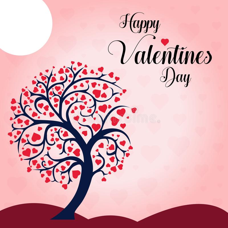 Deséele un ejemplo feliz del vector del fondo del árbol del corazón del día de tarjeta del día de San Valentín libre illustration