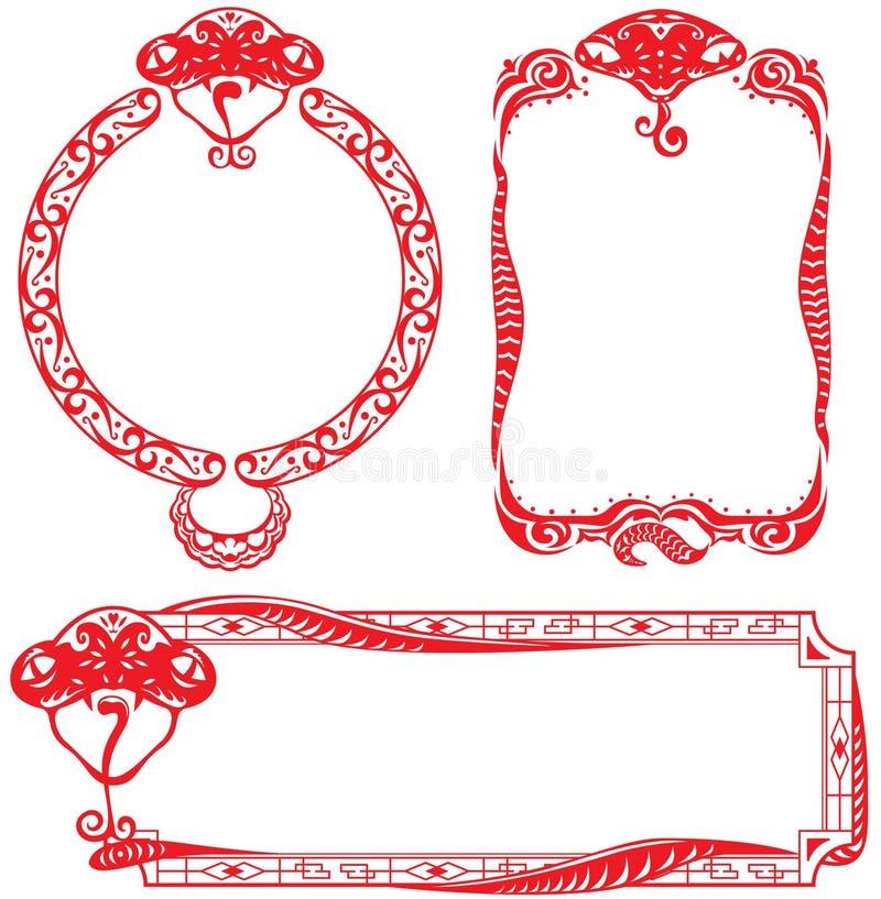 An des éléments de conception de cadre de serpent illustration stock
