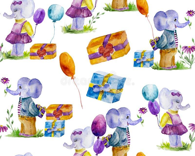 Des éléphants aux motifs sans parfum se rendent à la fête peinte d'aquarelles image stock
