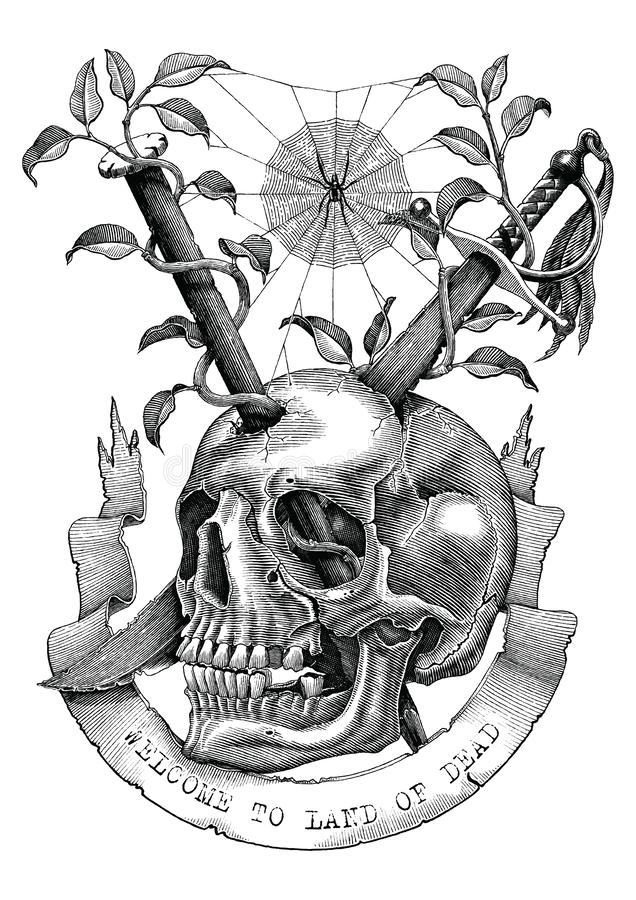 Des épées et les clous sont insérés dans le crâne dans le LAN abandonné illustration libre de droits