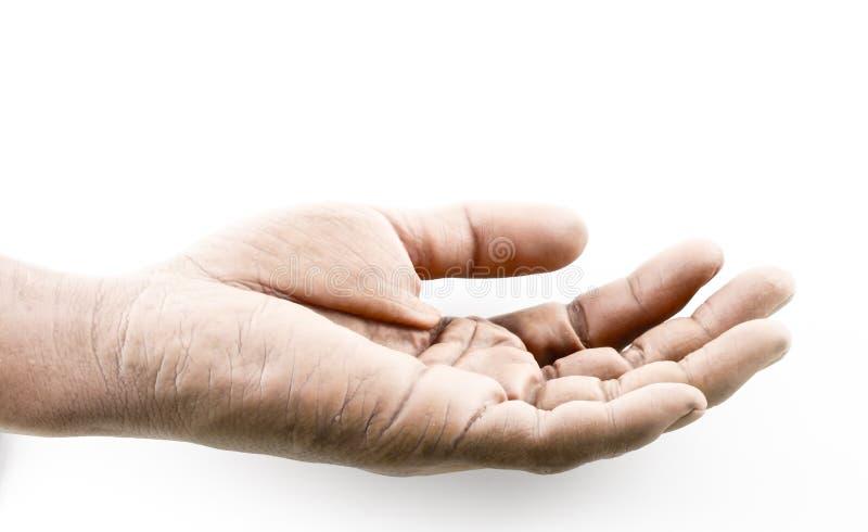 Des Abschlusses offene Dunkelheit oben und Schmutz Hand auf weißem Hintergrund stockfoto