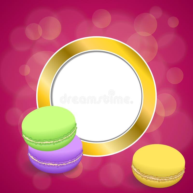 Des abstrakten rosa Kreisrahmenillustration Makronengelbs des Hintergrundes violette purpurrote grünes Gold stock abbildung