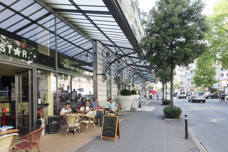 DES Alpes, Montreux d'avenue images stock