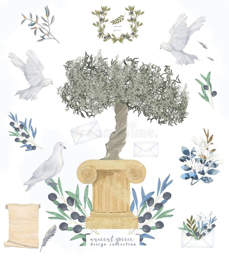 Des antiken Postens Aquarellvogelfliegen-Friedenstaube Satzcliparts der Taube und Olivenbaum digitale zeichnende für Heiratsfeier lizenzfreie abbildung