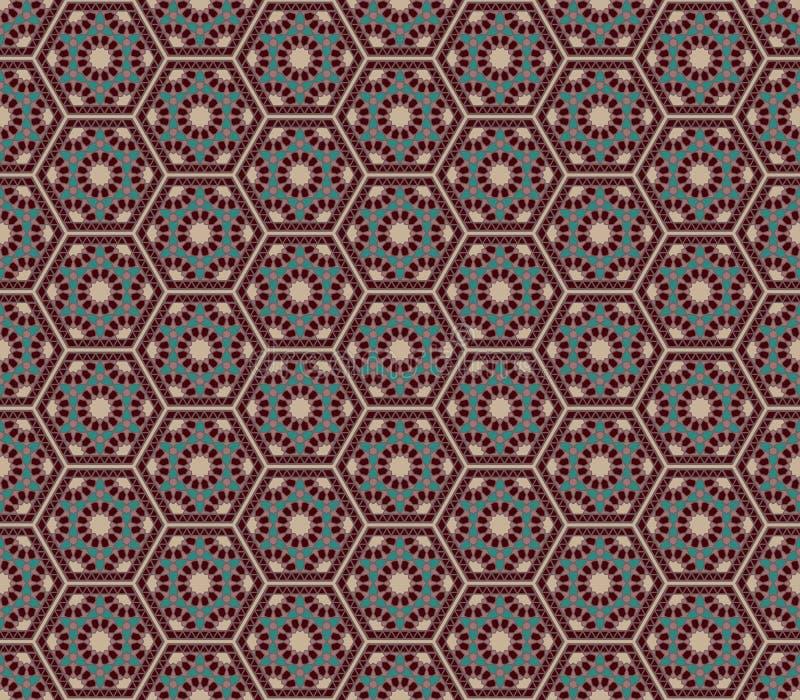 Des Artkastanienbrauns Mittleren Ostens sechseckiges nahtloses patte grüne Farben vektor abbildung