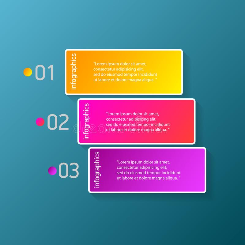 Des bannières modernes de papier de progrès de couleur de vecteur réglées avec trois options ou étapes peuvent être employées pou illustration libre de droits