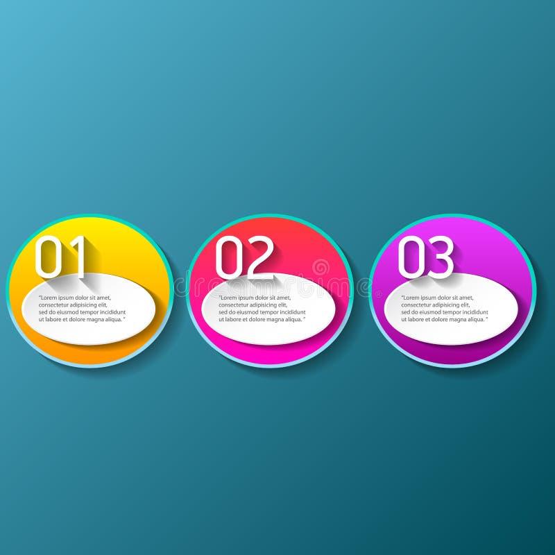 Des bannières modernes de papier de progrès de couleur de vecteur réglées avec trois options ou étapes peuvent être employées pou illustration de vecteur