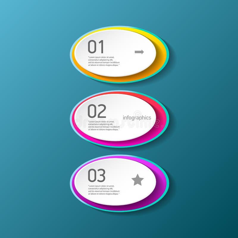 Des bannières modernes de papier de progrès de couleur de vecteur réglées avec trois options ou étapes peuvent être employées pou illustration stock