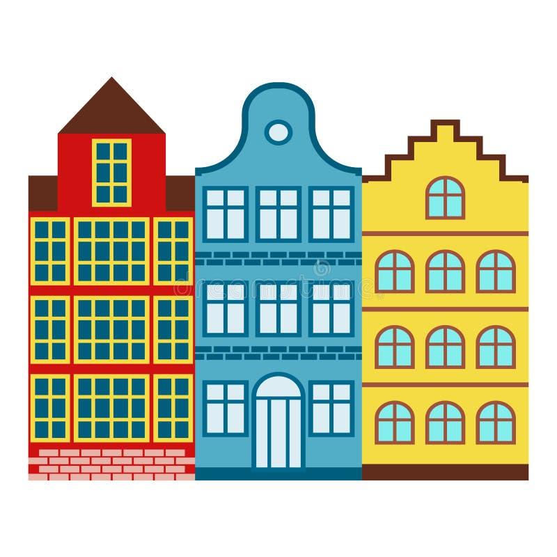 Des berühmten internationale Vektorillustration Gebäudeeuroabenteuers des Amsterdam-Haustourismusreisedesigns lizenzfreie abbildung