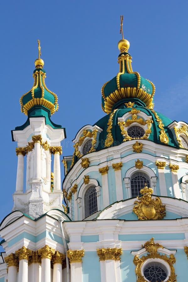 Des berühmten ukrainischen die Kirche Autocephalous orthodoxen St Andrew, Kiew, Ukraine stockfotos