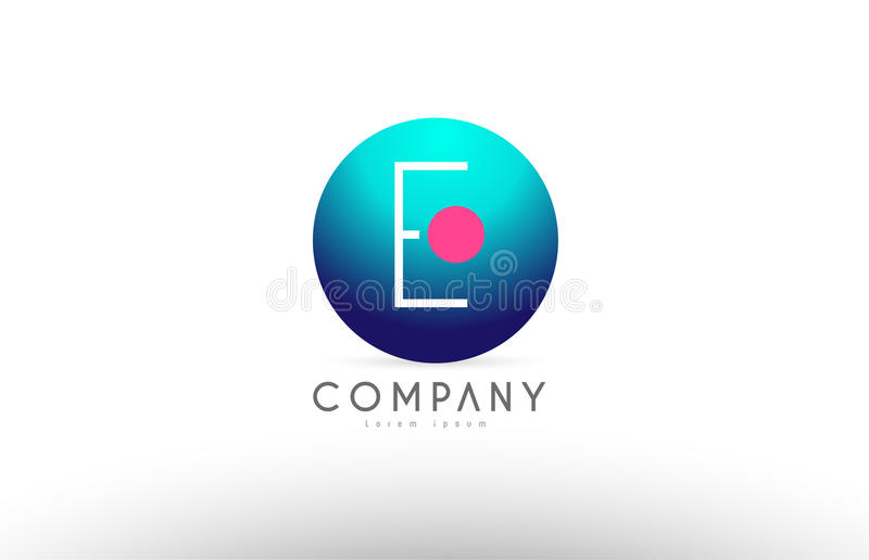 Des Bereichbuchstaben e-Alphabetes 3d Logo-Ikonendesign blaues rosa stock abbildung