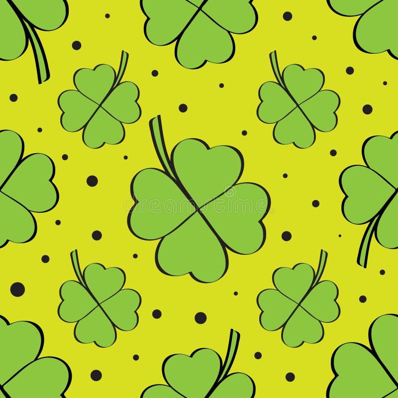 Des Blatt-Klees des Grüns vier nahtloses Muster lizenzfreie abbildung