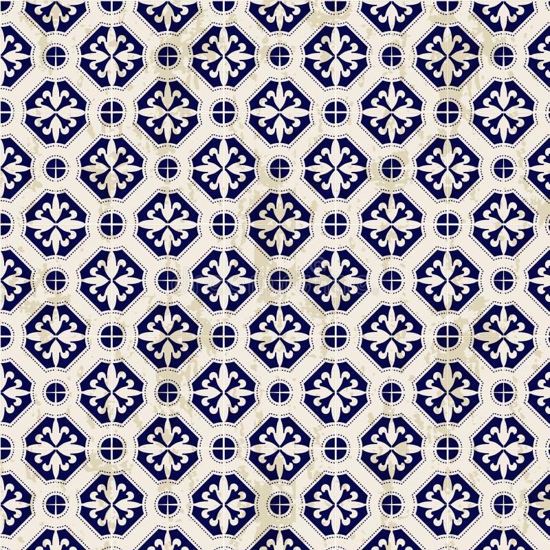 Des blauen der nahtlosen Weinlese chinesischer runder Musterhintergrund und weißen Porzellandiamanten stock abbildung