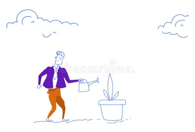 Des blumenbetriebsgeschäftswachstumskonzeptes des Geschäftsmannes Bewässerungserfolgsstrategieentwicklungs-Skizzengekritzel zukün vektor abbildung