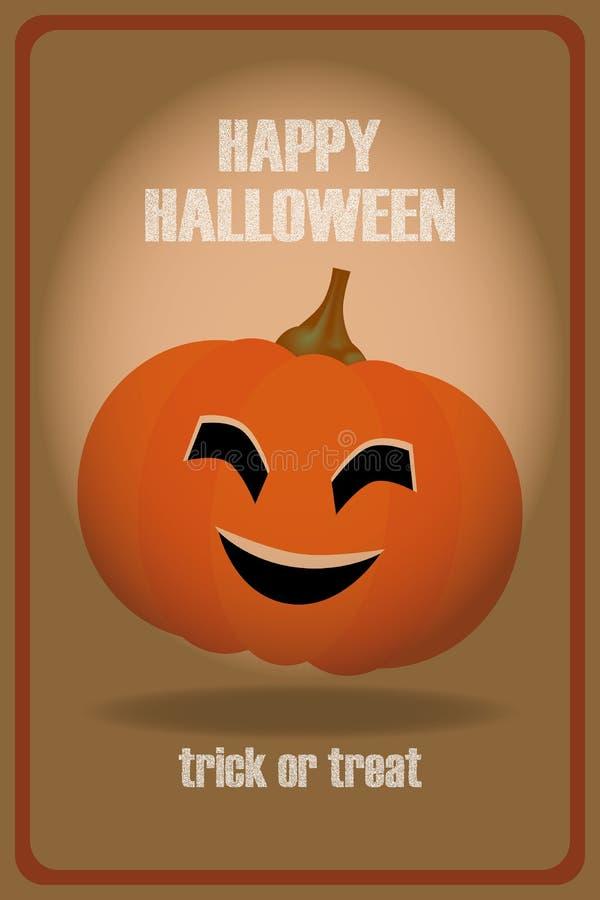 Des bonbons ou un sort - carte heureuse de Halloween avec le potiron de sourire illustration de vecteur