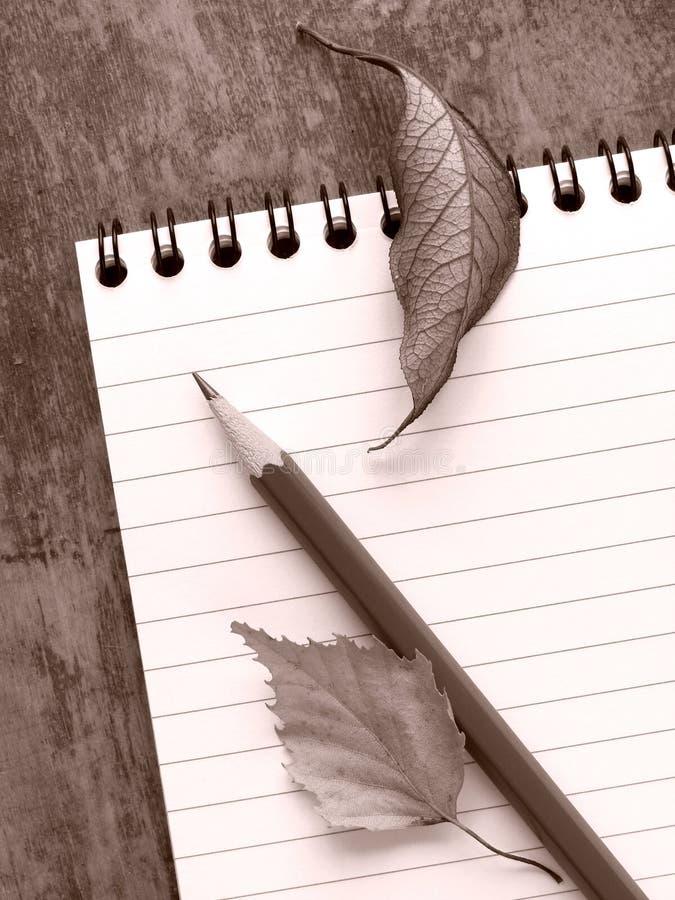 Des Briefpapiers Leben noch stockfoto