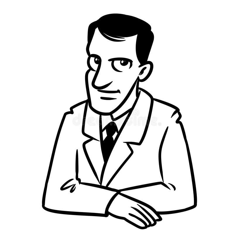 Des brunette sitzende Färbungsseite der Tabelle Lächelnporträts des Geschäftsmannes lizenzfreie abbildung