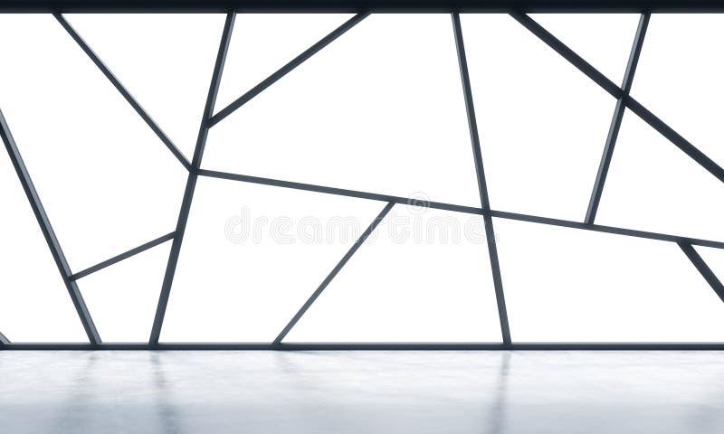 Des bureaux vides panoramiques contemporains lumineux avec l'espace blanc de copie dans les fenêtres Le concept du financ forteme illustration libre de droits